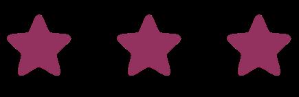 3 Burgundy Stars in a line