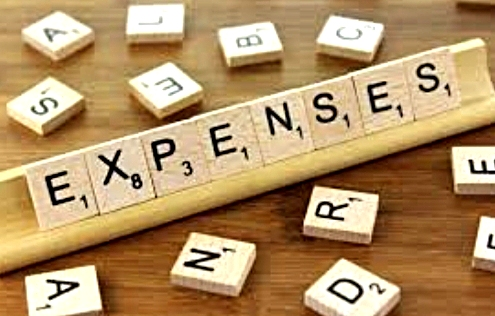 Scrabble pieces spelling the word, Expenses.